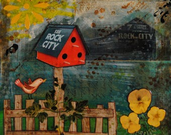 See Rock City, mixed media collage, pressed flowers 8x8
