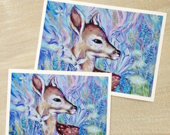 Pastel Woodland Deer in Nature - Abstract, Botanical, Colorful Artwork - Art Prints - Wall Art - Posters