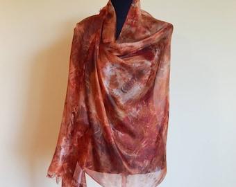 Hand Painted Silk Scarf, Brown Silk Summer Scarf, Shibori Silk Scarf, Original, Silk Painting.