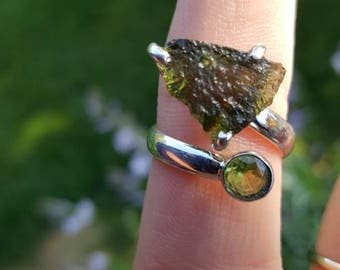 Moldavite & Peridot Set in Sterling Silver / New Age/ Metaphysical/ Free shipping US Only