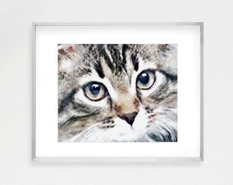 Tabby Cat, Girls Room Decor, Cat Painting, Cat Art, Cat Wall Art, Cat Nursery Art, Cat Lovers Gift, Baby Room Artwork, Cat Watercolor