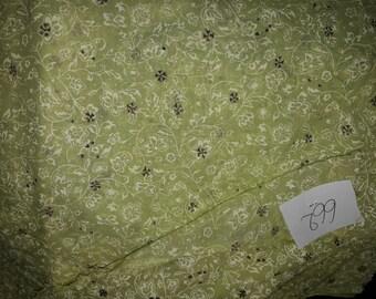 NO. 662-COTTON VINTAGE GREEN PISTACHIO BROWN BEIGE FLOWER MOTIFS