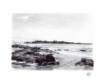 PRINT- Inkjet- A4-Illustration- Landscape- Diamond Island Print (Tasmania)
