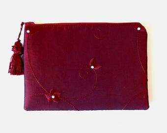 Burgundy Clutch, satin clutch, evening bag, brides purse, bridesmaid gift, wedding purse, bridal clutch,  prom purse,