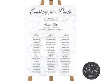 Printable Wedding Seating Chart, Seating Plan, Marble Background, Free Colour Changes, Digital or Professionally Printed, Marble Sweetness