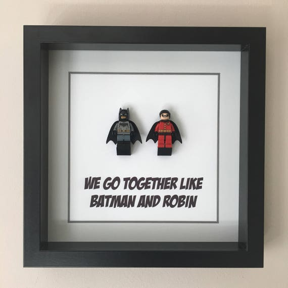 Batman And Robin Quote Minifigure Frame, Mum, Gift, Geek, Box, Friends, Dad, Idea, Birthday, Anniversary, Wedding, For Her, For Him, Lego
