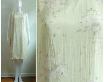 40%offAug15-17 90s floral silk dress sleeveless lightweight summer dress 1990s brook brothers flower print sheath dress womens medium ivory