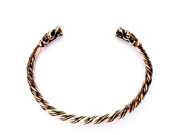 Gotland Dragon Heads Viking bracelet VIKING KRISTALL bronze