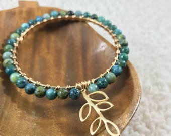 Denim Lapis Jasper Gemstone Beaded Gold Bangle Bracelet