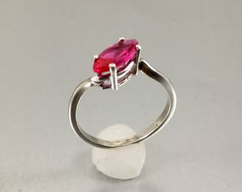 10 x 5mm Raspberry Marquise SS Ring Size 7