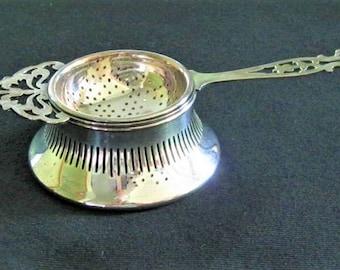 English Antique  Regis Plate  Tea Strainer and Bowl  c1900