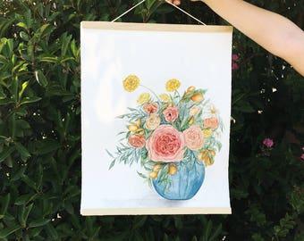 Floral Bouquet in Blue Vase Original Watercolor Painting