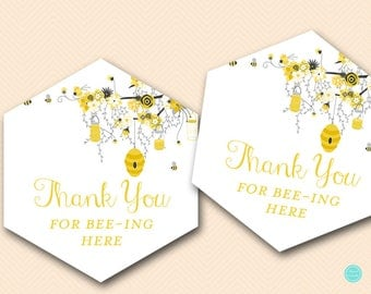 Thanks for BEEing Here, Instant Download Bee Thank you Tags, Bee Baby Shower Favors, Printable Thank you tags, honey bee BS29 BS185 TLC185