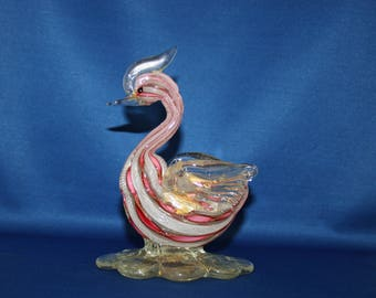 Vintage Murano Glass Hand Blown Pink Latticino, White Zanfirico & Gold Avertine Bird Sculpture Made in Italy