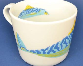 Mackeral Mug - hand printed screen printed ceramic cup fish