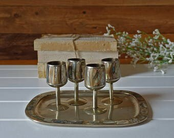 Vintage mother of pearl shooters and tray - Made in Mexico - Shot glasses