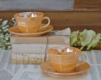Vintage peach tea cups Glossy finish Cups and Saucers Set of two tea cups Fire King