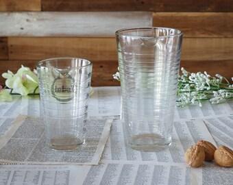 Graduated beakers Vintage clear glass beakers Embossed glass Kodak Lab beakers Set of 2 Industrial chemistry beakers