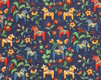 Tablecloth navy blue with yellow red blue orange Swedish Dala Horses, Scandinavian design, tablecloth Scandinavian gift
