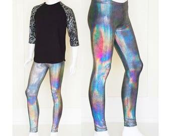 Holographic Iridescent Silver Burning Man Men's Leggings Meggings
