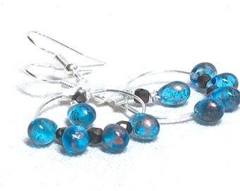 Blue Hoop Earrings, turquoise Czech glass bead earrings copper crystal earrings delicate boho jewelry bohemian beaded earrings