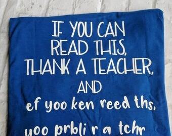 Monogrammed teacher shirt, custom teacher shirt, teacher appreciation gift, teacher appreciation shirt, thank a teacher shirt, teacher gift