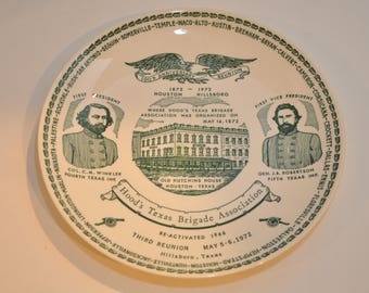 100th Year Hood's Texas Brigade Association Commerative Plate in excellent condition!