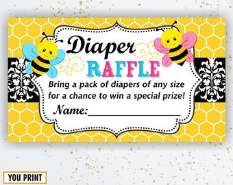 Instant download Bee Baby Shower Diaper Raffle Ticket Cards and Diaper Raffle Sign Printable Instant Download Boy Girl DRBee1