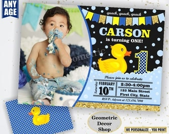 Rubber Duck, Duckie Birthday, Duck Birthday, Gold Blue Duck Birthday, Invite, Birthday Invitation, Splish Splash Pool Bash, boy, 1st BDuck4