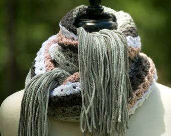 Rose Pink Scarf - Striped Multicolor Scarf with Gray Fringe - Extra Long Women's Fall Scarf - Crocheted Cowl