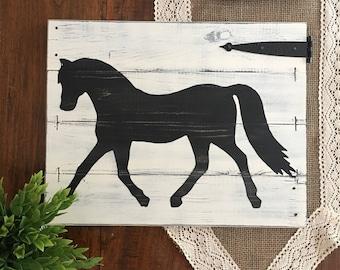 "RUSTIC HORSE DECOR, Equestrian wall decor, Horse decor, Horse wall art, Rustic horse painting, Modern farmhouse decor, 18"" wide x 14"" tall"