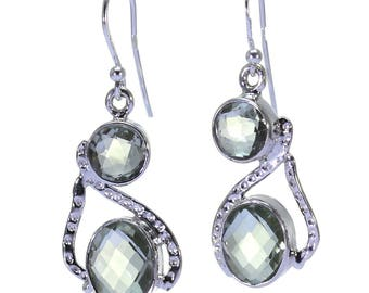 Green Quartz Earrings, 925 Sterling Silver, Unique only 1 piece available! color green, weight 5.6g, #32354