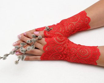 Romantic Fingerless gloves Red Lace Gloves Filigree gloves Birthday gift for her Tattoo Cover Elegant gloves Womens gloves Stretch gloves