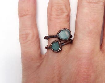 Azumar Ring, Blue Stone Ring, Copper Blue Ring, Azumar Copper Ring, Blue Gemstone Ring, Antique Copper Ring, Gemstone Stacking Ring