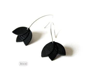Leather Black Lotus petal earrings