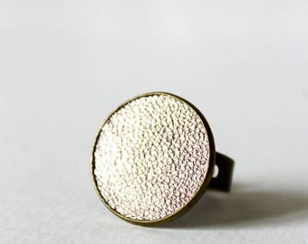 Ring 20 mm ° ° leather brass gold plated (Chic)