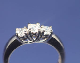1.0ctw. 3 Stone Diamond Engagement Ring 14K White Gold