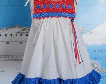 Vintage Homemade Toddler Dress / Patriotic Toddler Dress / Homemade Patriotic Dress / Red White and Blue Dress / Size 24 Months