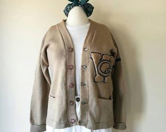 Vintage 1930s varsity letterman sweater cardigan beige worn out