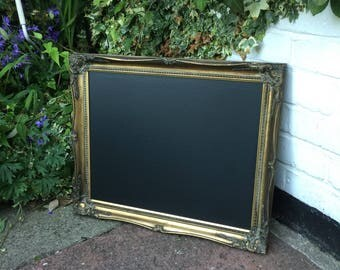 Lovely antique gold chalkboard vintage wedding menu seat plan.