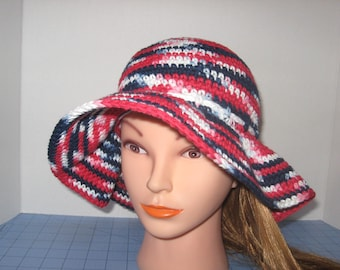 Patriotic Handmade Crochet Sun Hat with Floppy Brim. Garden Hat, Beach Hat, Women's Hat, Red, White,Blue, Cord Trim with Bow tied in Back.