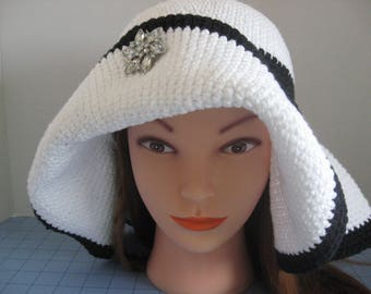 Handmade Crochet Flapper Hat with Wide Floppy Brim. Derby Day, Women's Sun hat, Button Trim, Crochet Cord Trim tied in the Back with a Bow.