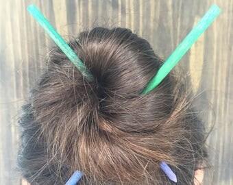 Set of 2 Hair Sticks | Hair Chopsticks | Ombre Green Blue and Purple Bun Holders