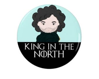 Game of Thrones  -  Badge - Magnet  - Jon Snow  -  King in the North - Quotes -  Fridge Magnet - Quotes -   TV - Fantasy