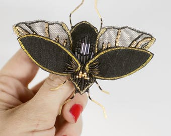 large brooch in volume, embroidered by hand, moth brooch, insect brooch embroidered with unique beads