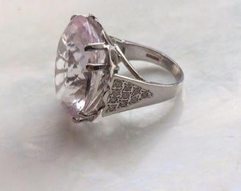 HUGE genuine 18ct white gold kunzite and diamond ring over 26ct