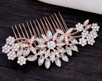 Bridal Hair Comb Rose Gold Decorative Crystal Combs For Wedding Headpiece Bridal Hair Piece Vintage Wedding Hair Accessories Bridesmaid Gift