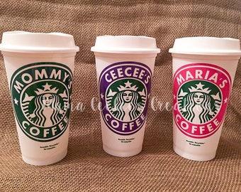 Reusable & Personalized Custom Starbucks Coffee and Drink Cup /  Mug / Tumbler - Perfect Gift Christmas, Teacher Holiday Stocking Stuffer