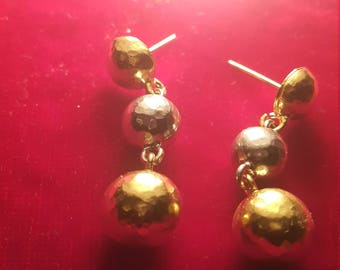 925 silver gold ğlated hollow ball earring