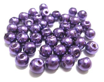 20 round purple pearl beads in glass 4mm (A-08)